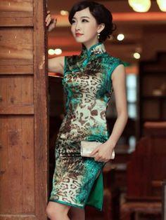 Green Leopard Sleeveless Short Silk Qipao / Cheongsam / Chinese Evening Dress
