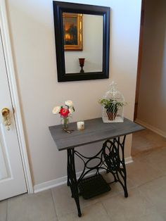 Style and Sprinkles: I repurposed an old sewing machine from the farm into an entry way table. :) all done with me and the help of my dad Woot!