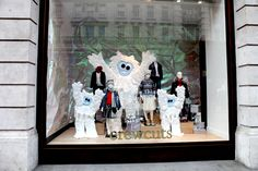 Snow monsters take over at J.Crew in Jay's window in London Perfect Christmas Gifts, Christmas 2014, Christmas Lights, Snow Monster, Monsters, Window, Street, Painting, Inspiration