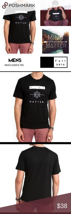 Mind / Matter Tee Mind over matter men's tee shirt by NeoClassics luxury contemporary brand.  Made in Los Angeles California. USA manufacturer and designed.  True to size Material content: Soft Poly Cotton Neoclassics Shirts Tees - Short Sleeve