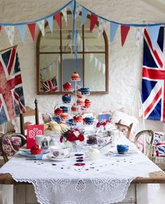 English Tea Party l Union Jack British Party, British Wedding, British Themed Parties, Union Jack, Queen 90th Birthday, London Party, Royal Tea, Thinking Day, High Tea