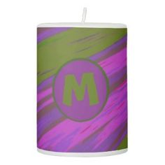 Pillar Candle Monogram Modern Purple Olive Green #zazzle #decor #homedecor #gifts
