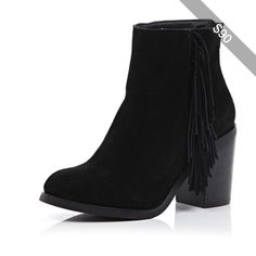 River Island Black suede fringed ankle boots