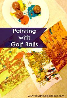Painting with golf balls is fun for children toddlers. Great way to be creative with paint and odd objects. #GaleriAkal Untuk berbagi ide dan kreasi seru si Kecil lainnya, yuk kunjungi website Galeri Akal di www.galeriakal.com Mam!