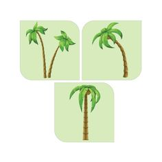 Palm Trees Set of 3 Decals [001]
