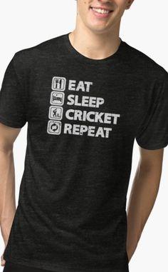Cricket fan tshirt - Eat Sleep Cricket Repeat fan tshirt. #cricket Custom Design Shirts, Shirt Designs, Creative T Shirt Design, Eat Sleep, Tshirt Colors, Cricket, Female Models, Chiffon Tops, Repeat