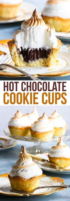 Gluten Free Hot Chocolate Cookie Cups - These hot chocolate cookie cups are easy to make and guaranteed to impress. The buttery, slightly crumbly gluten free cookie cups are complemented perfectly by the rich, decadent chocolate ganache and the sweet, fluffy marshmallow swiss meringue. The perfect gluten free dessert! #cookiecups #chocolate #meringue #dessert #glutenfree #glutenfreedesserts
