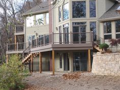 Composite deck with aluminum balusters.