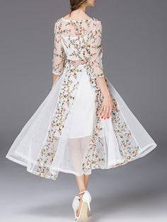 White Chiffon 3/4 Sleeve Floral Maxi Dress