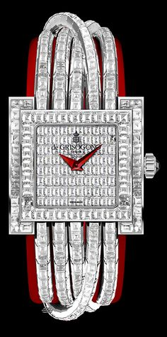 de Grisogono Allegra Watch Collection White gold cords set with baguette-cut white diamonds, Santa Claus red leather strap
