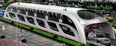With the current transportation problem in China, this could be a future we could see. A straddling bus system that rides on top of the highway and does not interfere with the cars. The bus in turn also is a station In itself.