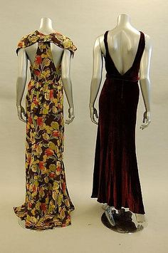 Two evening gowns (back), 1930s. Left: Floral-printed crepe with bustle back and trained skirt. Right: Wine velvet with matching belt with millefleur beaded buckle.