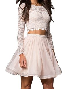 2017 Long Sleeve  Two Pieces Homecoming Dress