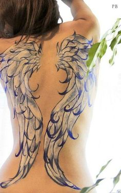 Gorgeous watercolor Angel wings Tattoo - blue and white, feather