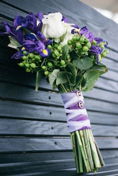 If you 'd rather visit a wholesale wedding event flower retailer and order flowers to make your own bridal bouquets, boutonnieres etc. Iris Wedding Bouquet, Iris Bouquet, Wedding Flower Guide, Purple Wedding Bouquets, Bouquet Wrap, Bridal Flowers, Bridal Bouquets, Wedding Ideas, Wedding Favours