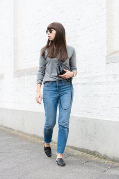 "Outfit Details: basic shirt – Samsøe & Samsøe jeans – Levi´s ""Wedgie Icon Fit""  bag – Céline Trio flat mules – Topshop  watch – Paul Hewitt  ring – & other Stories necklaces – & other Stories"