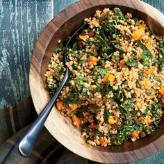 Wheat berry, butternut squash and kale salad Light Recipes, Wine Recipes, Whole Food Recipes, Salad Recipes, Squash Salad, Squash Food, Kale Salad, Wheat Berry Salad, Green Bean Salads