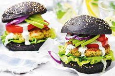 Prawn burgers with tomato, avocado and basil mayonnaise