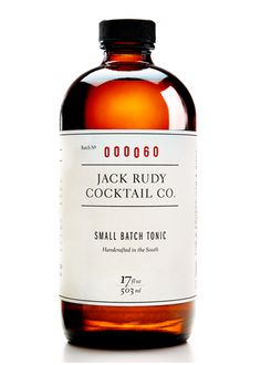 """Finally: An expertly crafted tonic to complement your favorite gin. Named for the founder's great-grandfather who was known to overindulge in """"drink, smoke and his wife's gourmet cooking,"""" the Jack Rudy Cocktail Co. aims to reinvent forgotten staples of the American bar."""