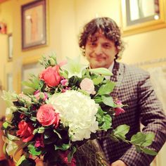 We'll I don't know which is prettier! The gorgeous bunch of #flowers from #emblem florist #toronto or Mr #westqueenwest holding them! Ladies what a catch!! #love #romance #bia #wqw #Padgram