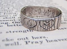 rustic woodgrain ring with carved initials