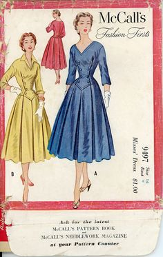 1950s Fashion Firsts Dress Pattern Bust 32 McCalls by CynicalGirl