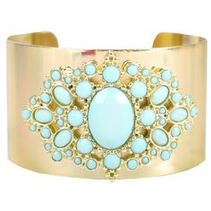 Turquoise Blue Faux Stone Beads Polished Gold Cuff Bracelet Jewelry