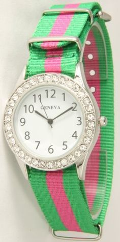 Classic Geneva Nylon Band Watch with Rhinestone Rimmed Face - Green with Pink Stripe! Geneva,http://www.amazon.com/dp/B00BQP639K/ref=cm_sw_r_pi_dp_9X8MrbEDBBD24ABB