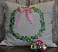 Cutesy Button Christmas Wreath Pillow