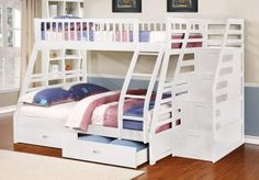 Fraser II White Twin over Full Bunk Bed with Storage Drawers and Stairway Chest | FREE Shipping at GoWFB.ca - Fraser III White Twin over Full Bunk Bed with Stairway Chest and Storage Drawers