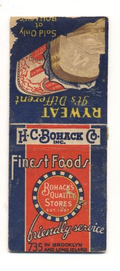 VINTAGE BOHACK QUALITY STORES BROOKLYN NY LONG ISLAND NO STRIKER MATCHBOOK COVER