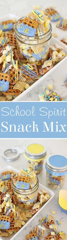 Sweet, salty, crunchy... this School Spirit Snack mix is simply perfect! Mix up a batch for back to school, or any school or sports events! - from glorioustreats.com