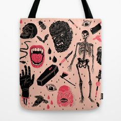 Whole Lotta Horror Tote Bag by Josh Ln - $22.00