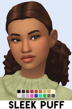 "imvikai: ""SLEEK PUFF HAIR BY VIKAIWhen I saw the new curls and puffs that came with seasons I had to make this hairstyle! I hope you all love it! Sims 4 Mm Cc, Sims Four, My Sims, Sims 4 Mods, Maxis, The Sims 4 Packs, Popular Short Haircuts, Best Sims, Pelo Afro"
