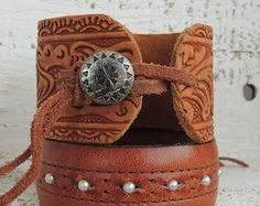 Tooled Leather Cuff / Cuff Bracelet / Distressed Leather Cuff / Boho Cuff / Indie Jewelry / Leather Jewelry / Cowgirl / Western Jewelry