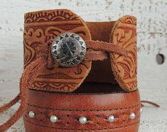 Tooled Leather Cuff / Cuff Bracelet / Distressed Leather Cuff / Boho Cuff / Indie Jewelry / Leather Jewelry / Cowgirl / Western Jewelry