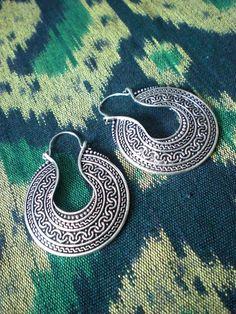 Tribal Aztec Pattern Ethnic Gypsy Earrings Silver Tone by mraur