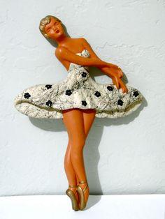 Vintage Chalkware Ballerina Kitsch Wall Hanging by SueEllensFlair, $25.00