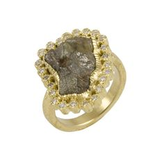 Todd Reed ring: gold, raw diamond white brilliant cut diamonds hand forged and fabricated. Raw Diamond Rings, Rough Diamond, Cocktail Rings, Druzy Ring, Gems, Bling, Jewels, Engagement Rings, Diamonds