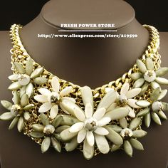 2014 Natural Shell Crystal Flower Coral Bijoux Gold Chain False Collar Bohemian Statement Chunky Choker Necklace
