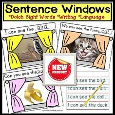 A Sight Words Sentence Writing Windows activity with IEP Goals for Special Needs Students, visual learners and Kindergarten.Writing sentences with Dolch nouns and Pre-Primer Sight Words, helps students with fill-in-the-blank writing skills, language development, spelling, and sight word recognition!WHATS INCLUDED:20 SENTENCE WINDOWS containing a sentence starter and a fill-in-the-blank last word to complete each sentence.84 High Frequency Dolch Noun Picture/Word Cards for students to color… Sight Word Sentences, Dolch Sight Words, Teaching Life Skills, Writing Skills, Teaching Ideas, Sentence Writing, Writing Sentences, Pre Primer Sight Words, Special Needs Students