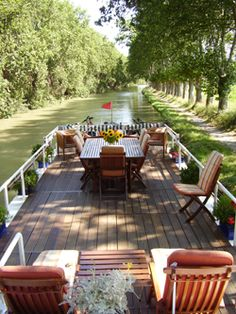 Barge Cruising on the Canals of France together on our Delta dream honeymoon that we hope to win! This is what her first boat will look like Canal Barge, Canal Boat, Barge Boat, Barge Interior, Airstream Interior, Paris, Canal Du Midi, Dutch Barge, Houseboat Living