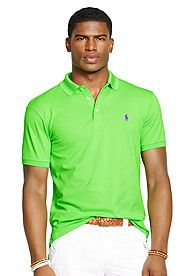 Polo Ralph Lauren Custom-Fit Stretch-Mesh Polo Shirt - Don't forget to wear green on St. Patrick's Day!