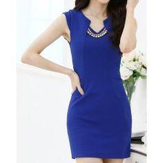 Elegant V-Neck Solid Color Sleeveless Slimming Dress without Necklace For Women