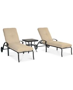 Park Gate Outdoor Cast Aluminum 3-Pc. Chaise Set (2 Chaise Lounges and 1 End Table)