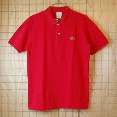 【LACOSTE】フレンチラコステ古着レッド(赤)コットン100%鹿の子生地ワンポイントポロシャツサイズ3