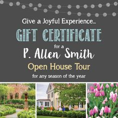Join us at P. Allen Smiths Moss Mountain Farm Garden Home for lunch and guided tours of the terrace gardens, one acre vegetable garden, Poultryville and house!