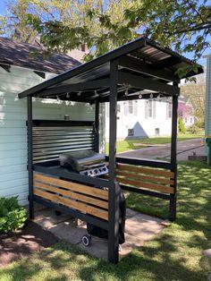 Grill Gazebo, Backyard Gazebo, Backyard Landscaping, Backyard Projects, Outdoor Projects, Pool Bar, Outdoor Grill Station, Outdoor Bbq Kitchen, Cabana