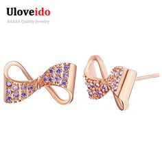 Find More Stud Earrings Information about Uloveido 40% off Cute Rose Gold Plated Earrings for Women Gifts Girls Bowknot Stus Earings with 2 color Bijouterie Jewelry R704,High Quality rose gold plated earrings,China plated earrings Suppliers, Cheap earrings for women from ULOVE Fashion Jewelry Official Store on Aliexpress.com