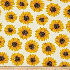 Kanvas Forever Sunflowers Metallic Spaced Sunflower Cream from @fabricdotcom  Designed by Maria Kalinowski for Kanvas Studio, this fabric is perfect for quilting, apparel and home décor accents. Colors include cream, shades of yellow, brown and black with gold metallic accents.